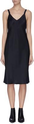 Helmut Lang V-neck strap details satin slip dress