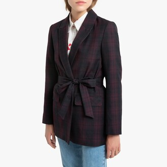 La Redoute Collections Checked Jacket with Tie-Waist and Pockets