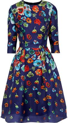 Carolina Herrera Pleated Floral-print Silk Dress