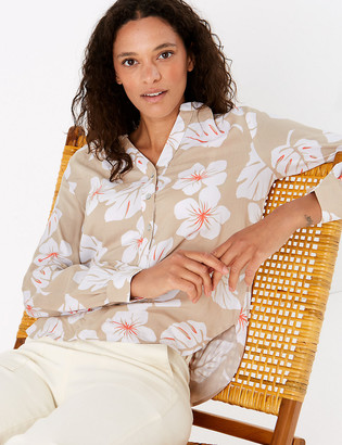 Marks and Spencer Printed Long Sleeve Popover Blouse