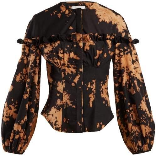 Marques Almeida Marques'almeida - Tie Dye Frilled Cotton Shirt - Womens - Black Multi