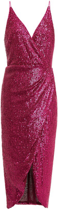 Jonathan Simkhai Wrap-effect Sequined Stretch-tulle Midi Slip Dress