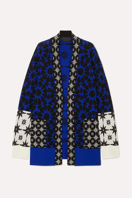 Haider Ackermann Intarsia Wool-paneled Cashmere And Silk-blend Cardigan - Blue