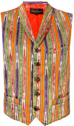 Comme Des Garçons Pre-Owned Bleached Back Striped Waistcoat