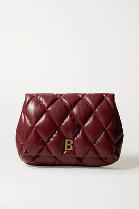 Balenciaga Touch Puffy Large Embellished Quilted Leather Clutch - Burgundy