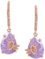 Betsey Johnson Rose Gold-Tone Lavender Stone Dragonfly Drop Earrings