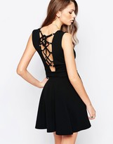 Daisy Street Skater Dress With Lace Up Back