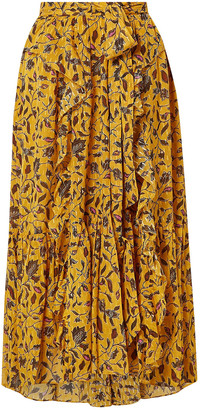 Ulla Johnson Fae Ruffled Floral-print Silk, Cotton And Lurex-blend Skirt
