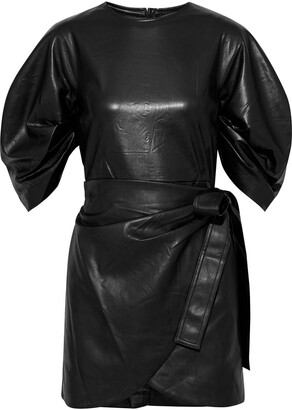 GOEN.J Wrap-effect Faux Leather Mini Dress