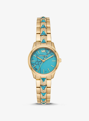 Michael Kors Petite Runway Mercer Pave Gold-Tone and Turquoise Watch