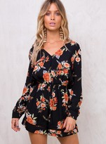 MinkPink Wallflower Long Sleeve Playsuit