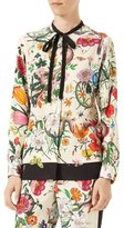 Gucci Flora Snake-Print Silk Shirt, Multicolor