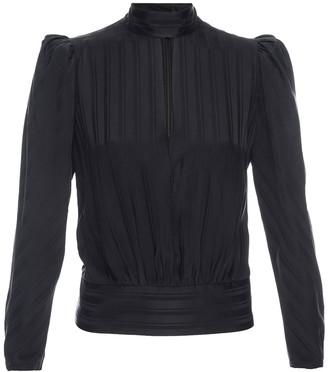 Frame Tonal Striped Puff Sleeve Silk Blouse