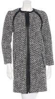 Saint Laurent 2015 Leather-Trimmed Bouclé Coat