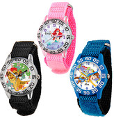 Disney Time Teacher Watch with Nylon Strap for Kids - Large Dial - Customizable