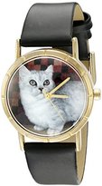 Whimsical Watches Kids' P0120047 Classic Munchkin Cat Black Leather And Goldtone Photo Watch