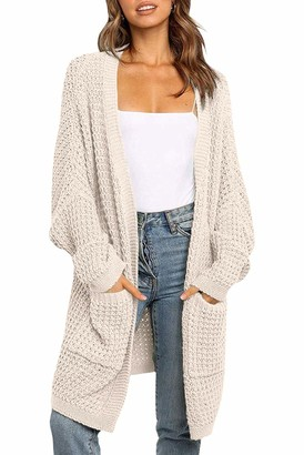 YIBOCK Womens Kimono Long Batwing Sleeve Open Front Chunky Cable Knit Cardigan Sweater with Pockets - beige - X-Large