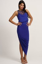 Little Mistress Blue Embellished Lace Asymmetric Maxi Dress