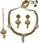Matra 3 Pcs Goldtone Ethnic Indian Necklace Set Bollywood Women Wedding Bridal Jewelry