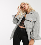 Topshop Petite oversized shacket in grey