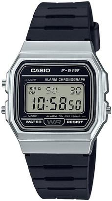 Casio Digital Silver Tone Case Black Strap Watch