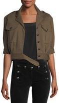 Veronica Beard Fleet Short-Sleeve Military Jacket