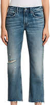 AllSaints Serene Destroy Kick Cropped Jeans, Mid Indigo Blue