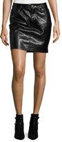 Frame Leather Mini Skirt, Black