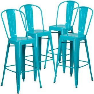 "Williston Forge Ortega Metal 30"" Bar Stool Color: Blue"