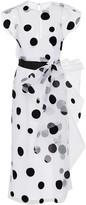Carolina Herrera Polka-Dot Bow-Embellished Tulle Midi Dress