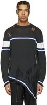 Miharayasuhiro Grey Striped Distressed Sweater