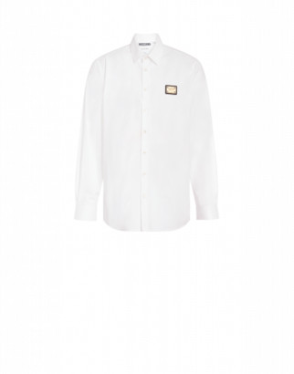 Moschino Metal Label Poplin Shirt Man White Size 38 It