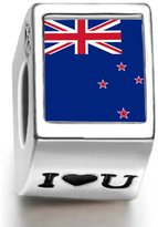 Soufeel 925 Sterling New Zea Land Flag Photo I Love U European Charms Fit European Bracelets