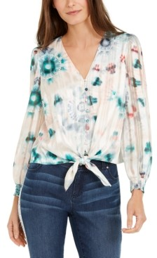 INC International Concepts Inc Petite Tie-Dyed Tie-Front Shirt, Created for Macy's