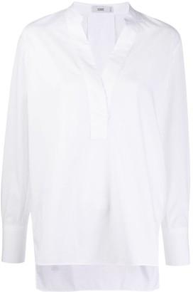 Closed V-neck long sleeve blouse