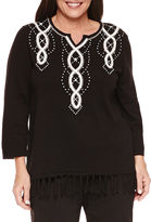 Alfred Dunner 3/4 Sleeve Split Crew Neck Pullover Sweater-Plus