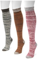 Muk Luks Women's 3 Pair Pack Microfiber Knee High Socks - Multicolor One Size