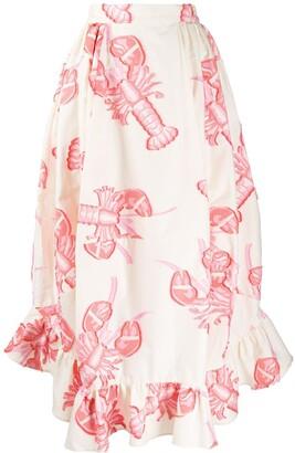Henrik Vibskov Lobster Print Ruffle Hem Skirt