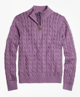 Brooks Brothers Supima® Cotton Cashmere Cable Half-Zip Sweater