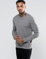 Asos Crew Neck Sweater In Gray Cotton