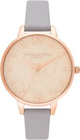 Olivia Burton Glitter Dial Leather Strap Watch, 34mm