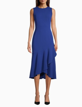 Calvin Klein Solid Ruffle Hem Midi Dress