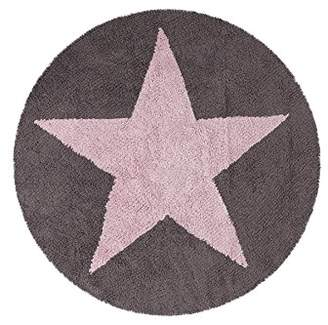 Lorena Canals Reversible Round Star Washable Rug (Pink/Dark Grey)