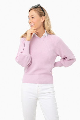 White + Warren Wild Flower Heather Ribbed Button Cuff Crewneck