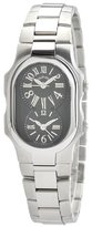 Philip Stein Teslar Women's 1-MB-SS Signature Dual Time Zone Black Textured Dial Watch