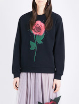 Christopher Kane Beauty and the Beast Swarovski Rose cotton sweatshirt