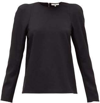 Tibi Chalky Padded-shoulder Jersey T-shirt - Womens - Black