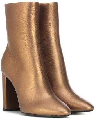Saint Laurent Lou 95 metallic leather ankle boots