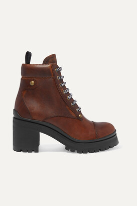 Miu Miu Lace-up Leather Ankle Boots - Brown
