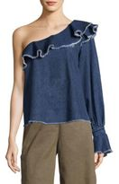 Tanya Taylor Orla One-Shoulder Denim Top